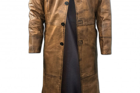 Mens Leather Trench Coat for Men Long Jacket Vintage Distressed Brown Coat Infographic