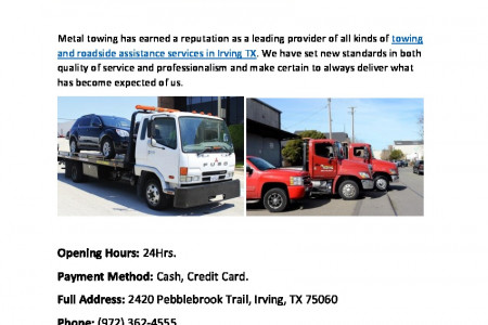 Metal Towing - Top Class Towing in Irving Texas Infographic
