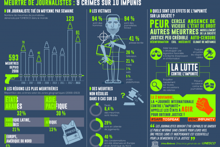Meurtre de Journalistes: 9 Crimes sur 10 Impunis Infographic