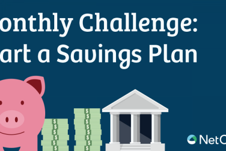 Monthly Challenge: Start a Savings Plan Infographic
