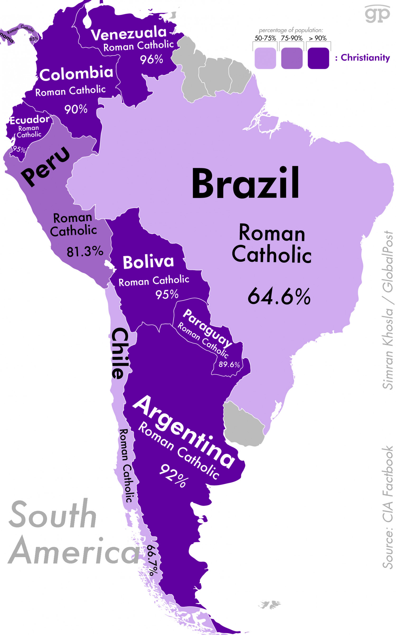 Most Religious Places: South America Infographic