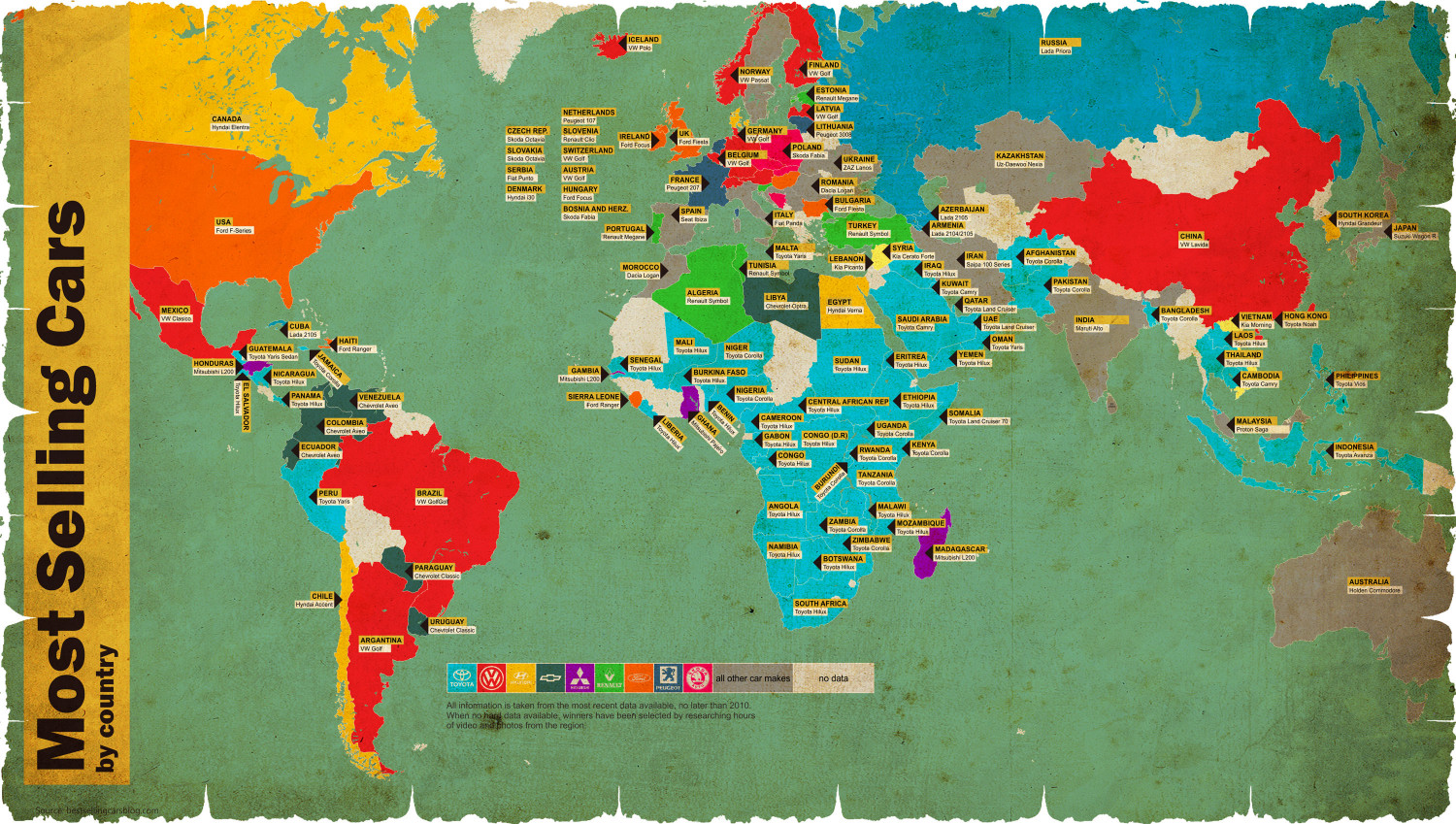 Most Selling Cars by Country Infographic