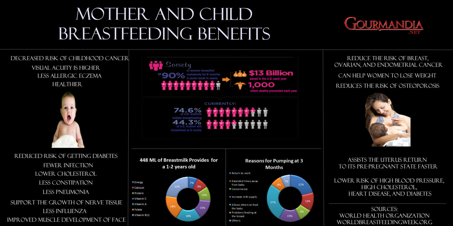 Mother and Child Breastfeeding Benefits Infographic