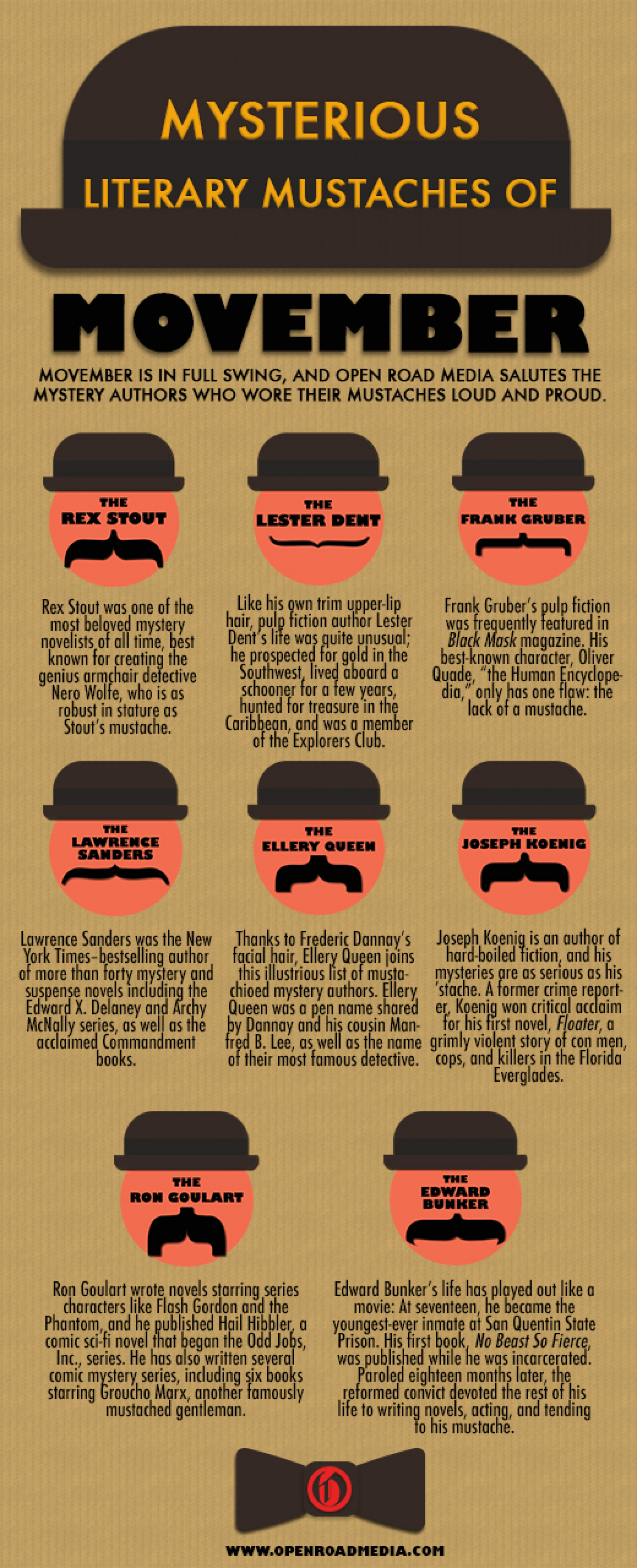 Mysterious Literary Mustaches of Movember Infographic