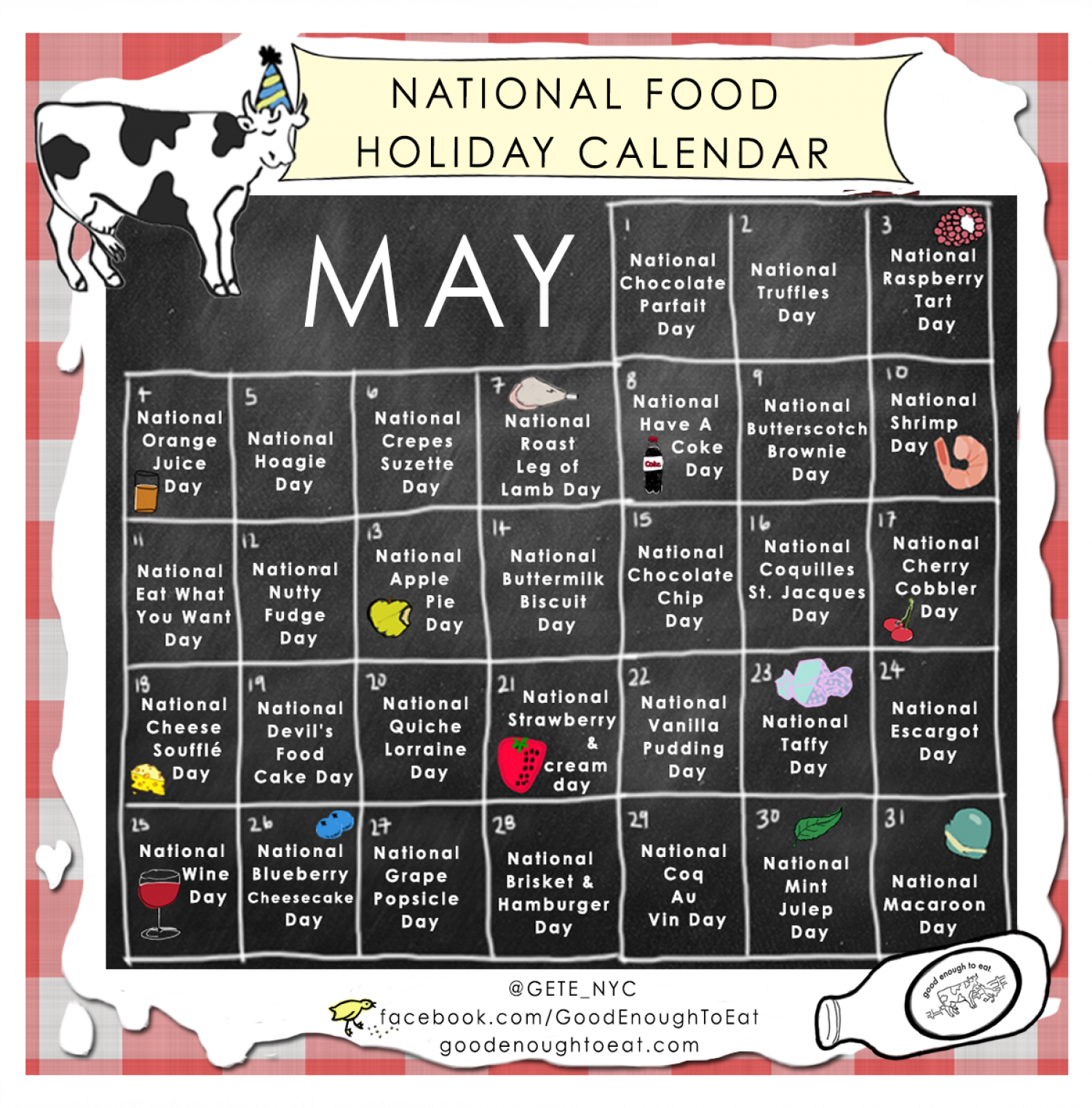 NATIONAL FOOD HOLIDAY CALENDAR - MAY Infographic
