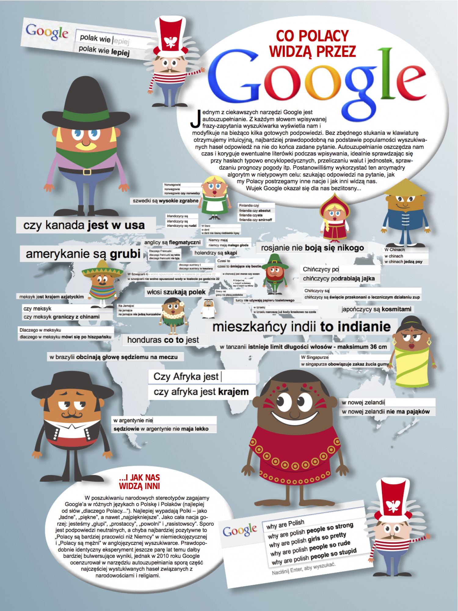 National stereotypes by Google Instant Search Infographic