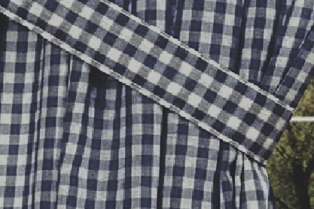 NAVY BLUE GINGHAM CHECK WINDOW LONG CURTAIN  Infographic