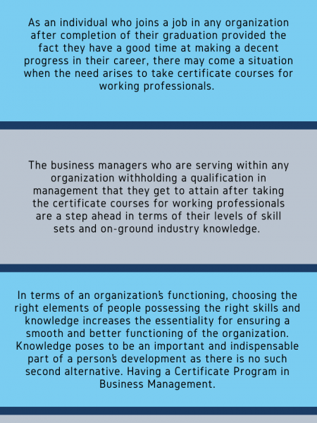 NECESSITY AND RELEVANCE DO CERTIFICATE COURSES HAVE FOR WORKING PROFESSIONALS Infographic