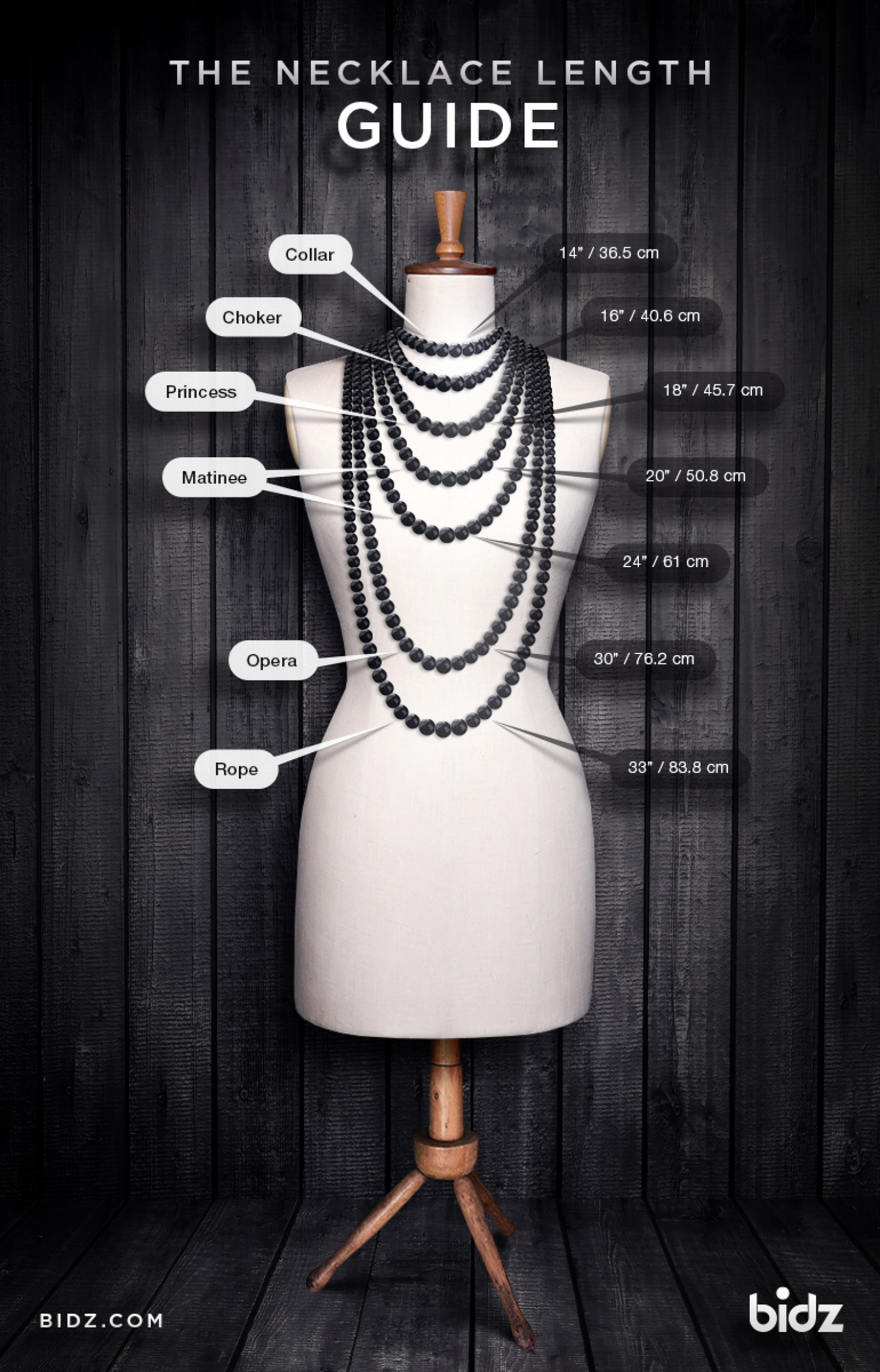 Necklace length guide Infographic