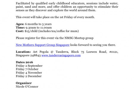 New Mothers Support Group Singapore: Sensory Play & Art at Tanderra Infographic