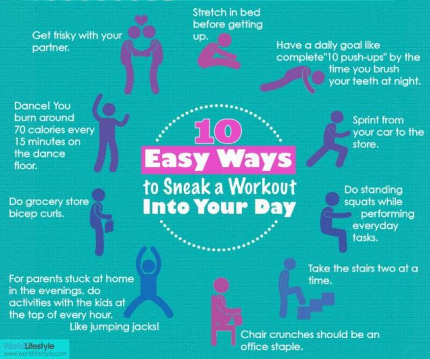 10 Easy Ways to Sneak A Workout Into Your Day Infographic