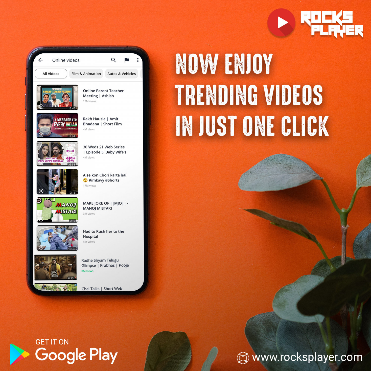 Now Enjoy Online Videos in Just One Click | Rocks Player App Infographic