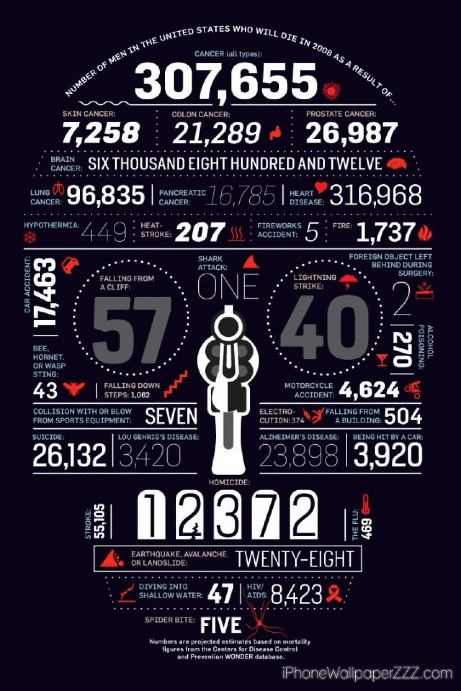 Number of Men in the United States Who Will Die in 2008 as a Result of Infographic