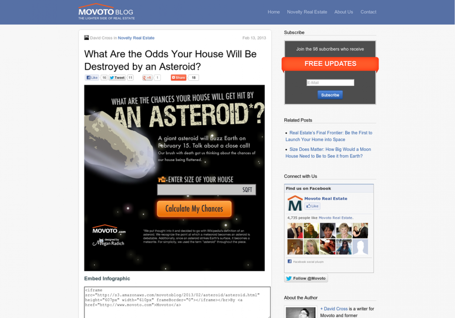 Odds of Your House Being Hit by an Asteroid Infographic