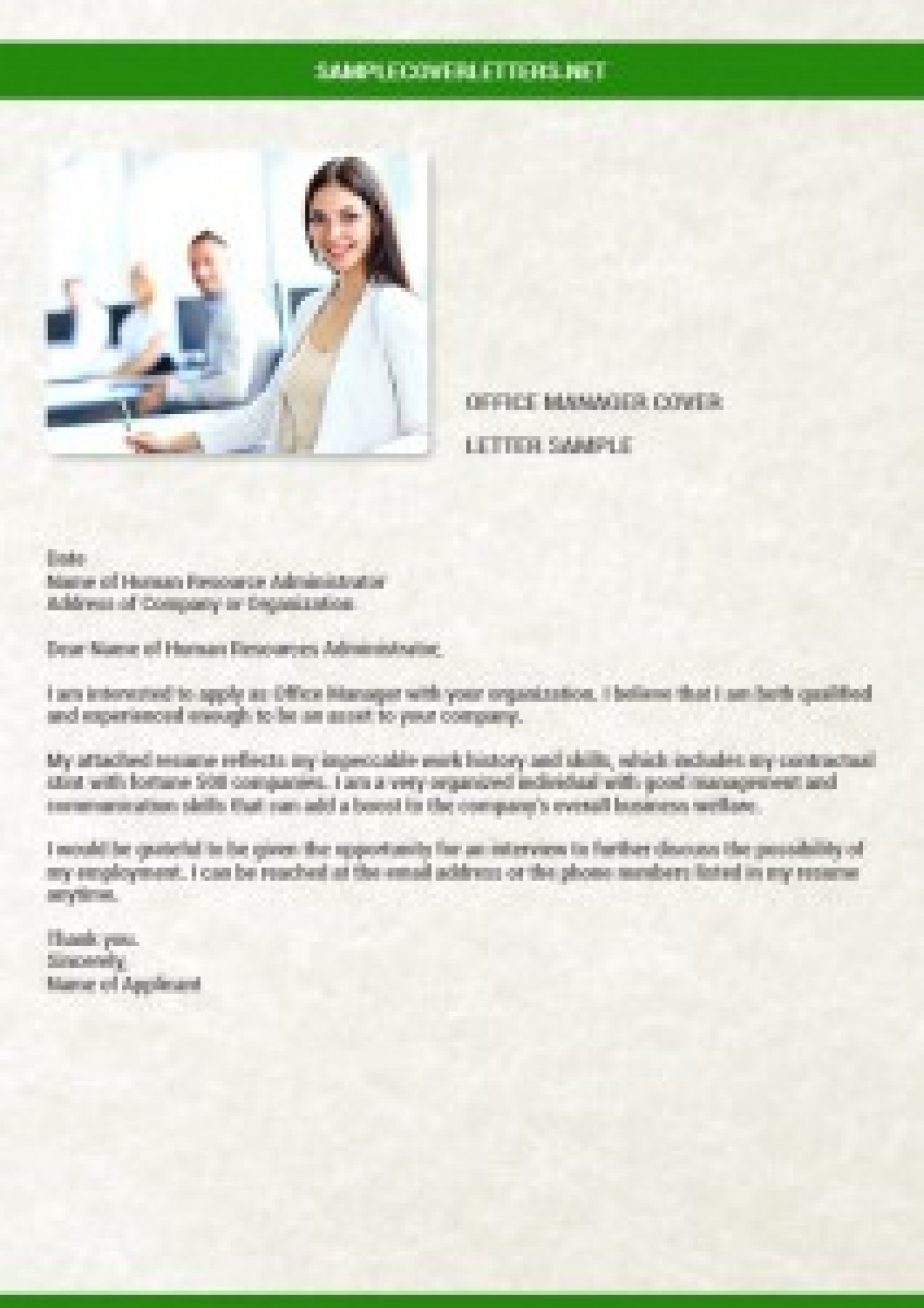 Cover Letter Assistant Front Office Manager