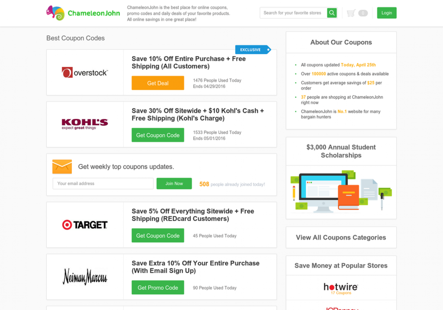 Online Coupons, Promo Code, Discount & Deals | ChameleonJohn Infographic
