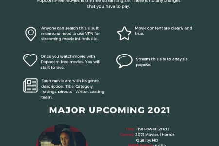 Online platform for streaming Popcorn free movies Infographic