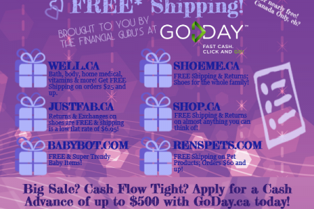 Online Shopping That Offers Free (or almost free!) Shipping to Canadians! Infographic