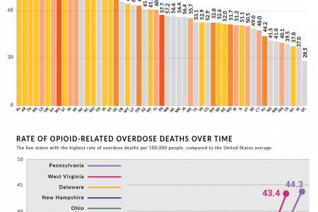 Opiod Overdose Deaths & Prescription Rates by State Infographic