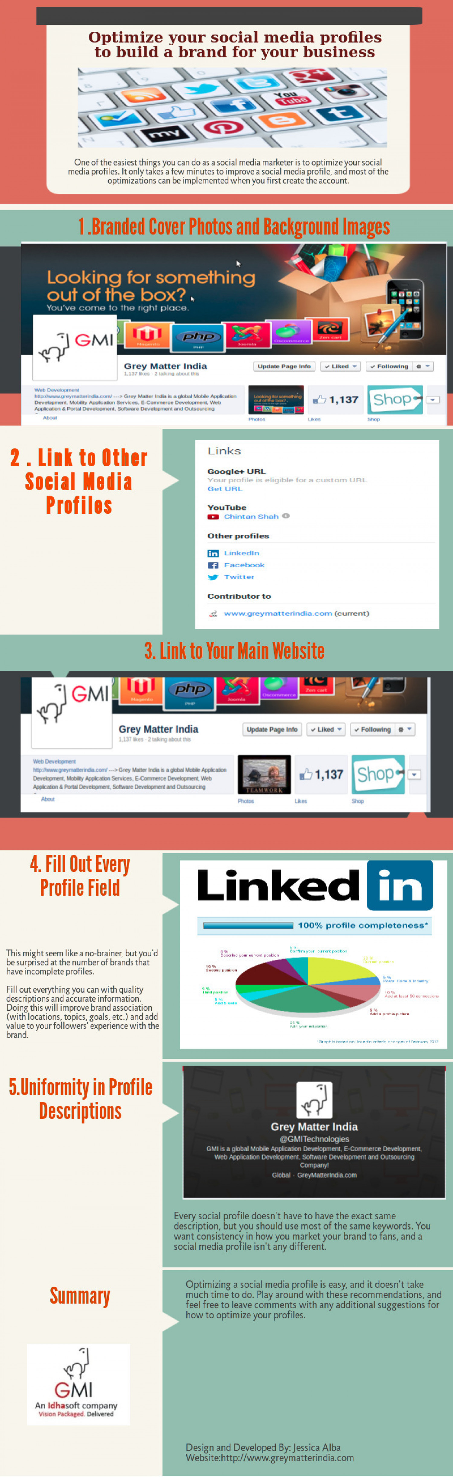 Optimize Your Social Media Profiles to Build A Brand for Your Business Infographic