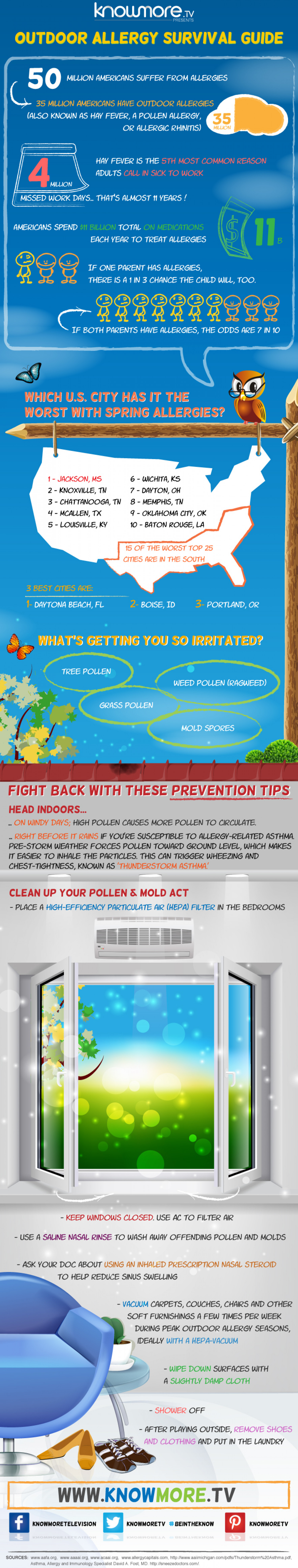 Outdoor Allergy Survival Guide. Infographic