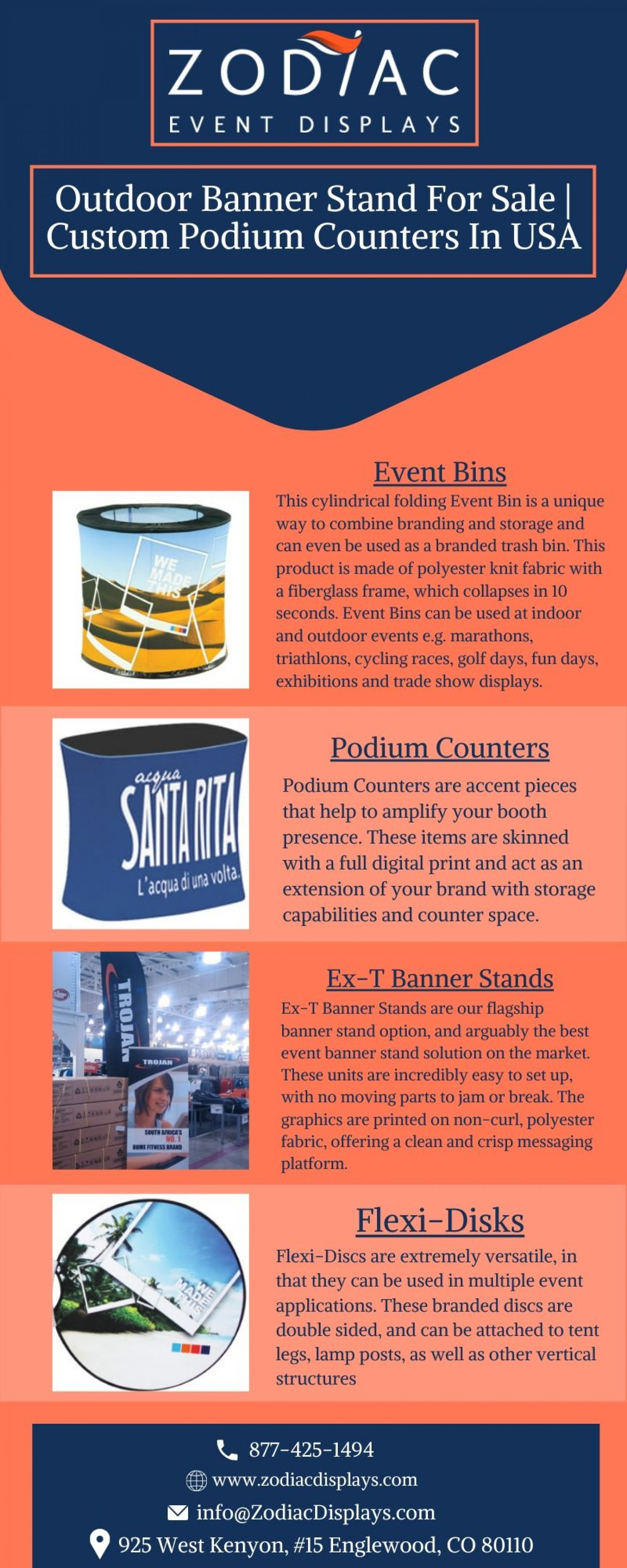 Outdoor Banner Stand For Sale | Custom Podium Counters In USA Infographic