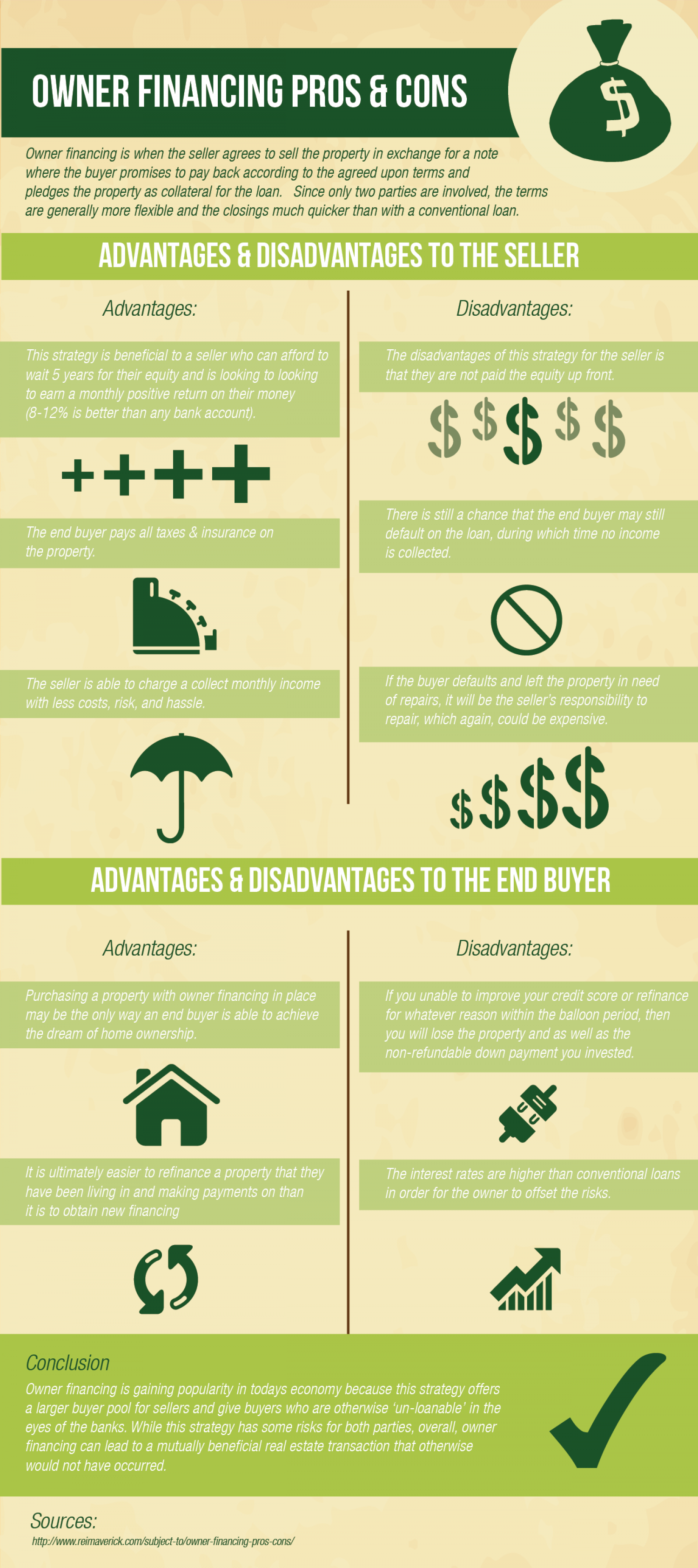 Owner Financing Pros and Cons Infographic