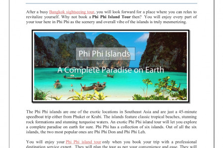 Phi phi islands – a complete paradise on earth Infographic