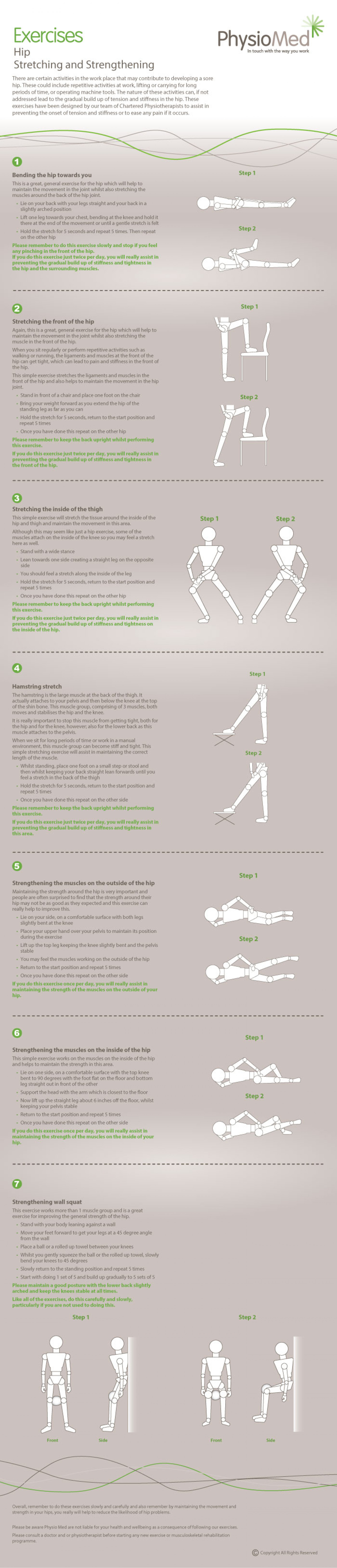 Hip Stretching and Strengthening Exercises - Occupational Physiotherapy: Physio Med Infographic