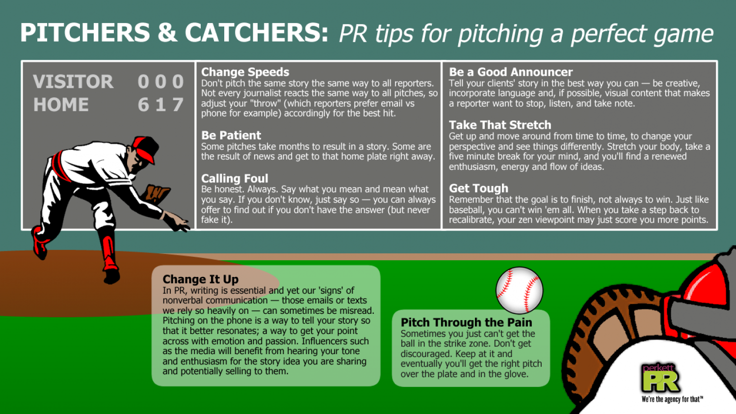 Pitchers & Catchers: PR tips for pitching a perfect game Infographic
