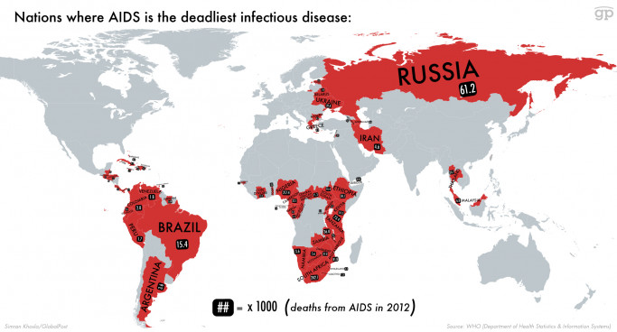 Places where AIDS is the Deadliest Infectious Disease
