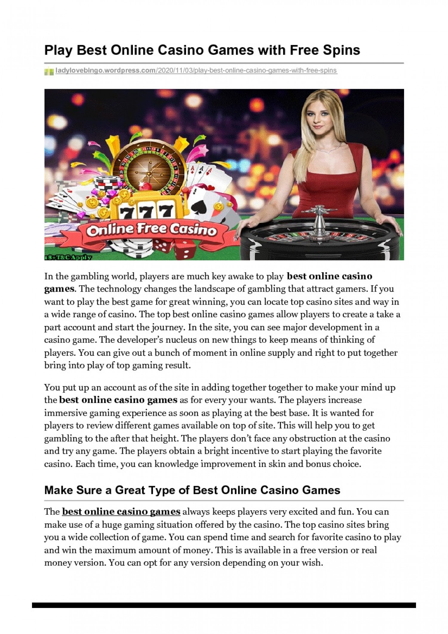 Play Best Online Casino Games with Free Spins Infographic
