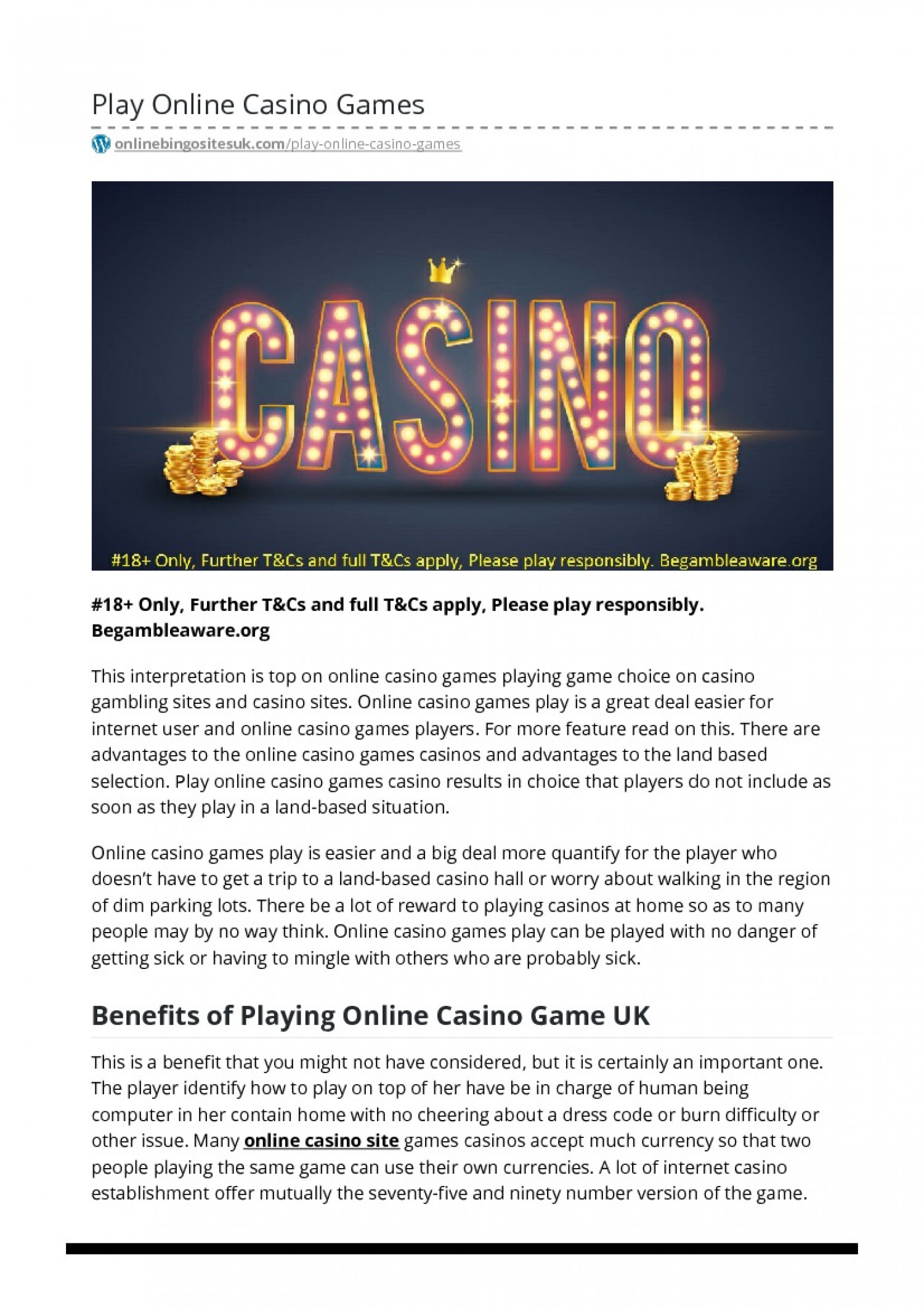 Play Online Casino Games Infographic