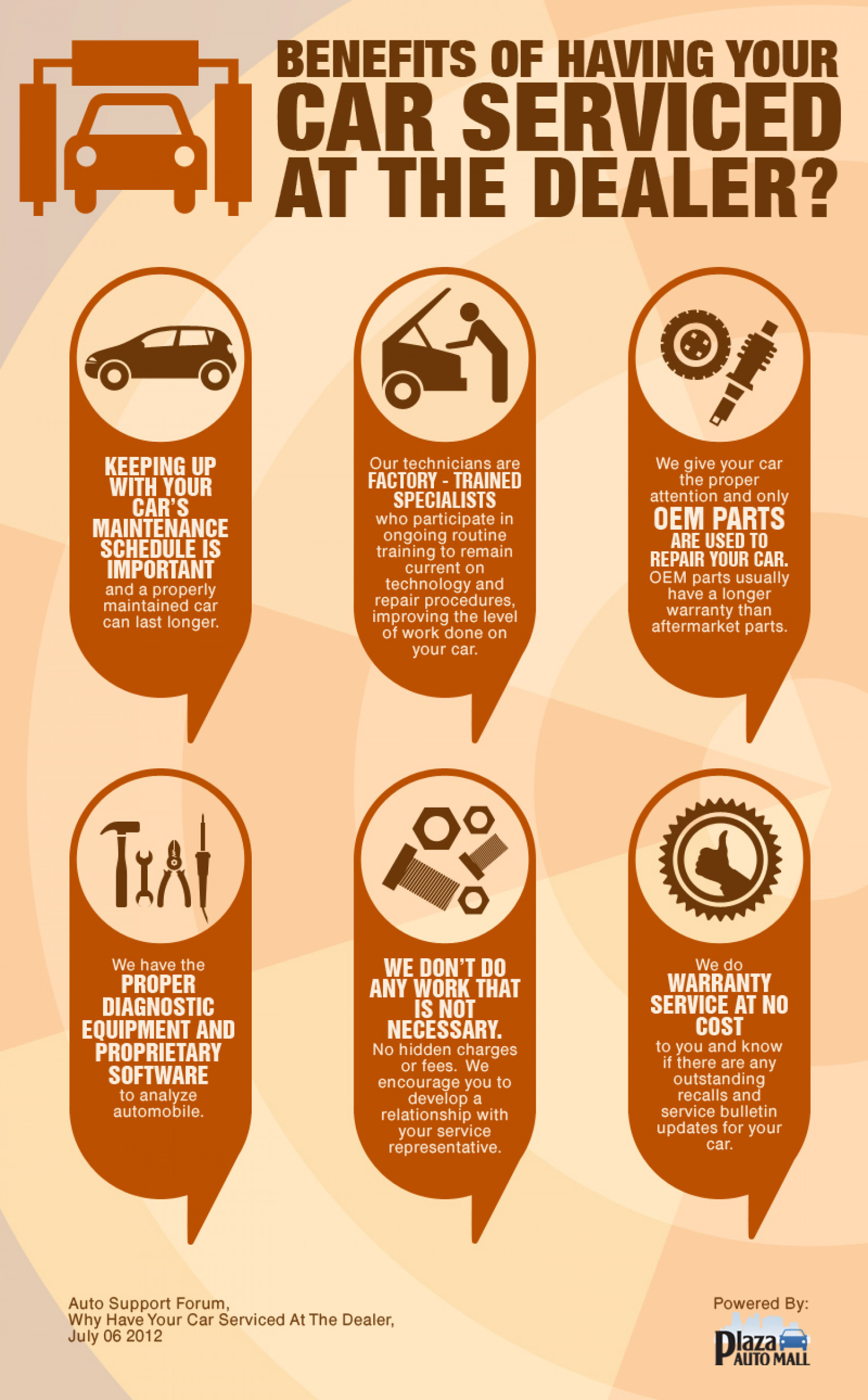 Benefits of having your car serviced at the dealer? Infographic