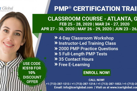 PMP Certification Training Course in Atlanta, GA   Classroom Training   iCert Global Infographic
