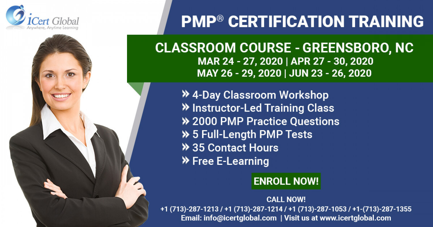 PMP Certification Training Course in Greensboro, NC Mar-Apr 2020 Infographic