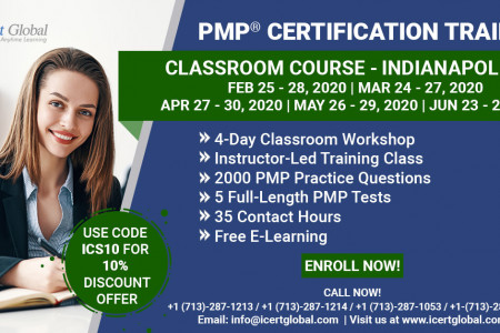 PMP Certification Training Course in Indianapolis, IN   Classroom Training   iCert Global Infographic