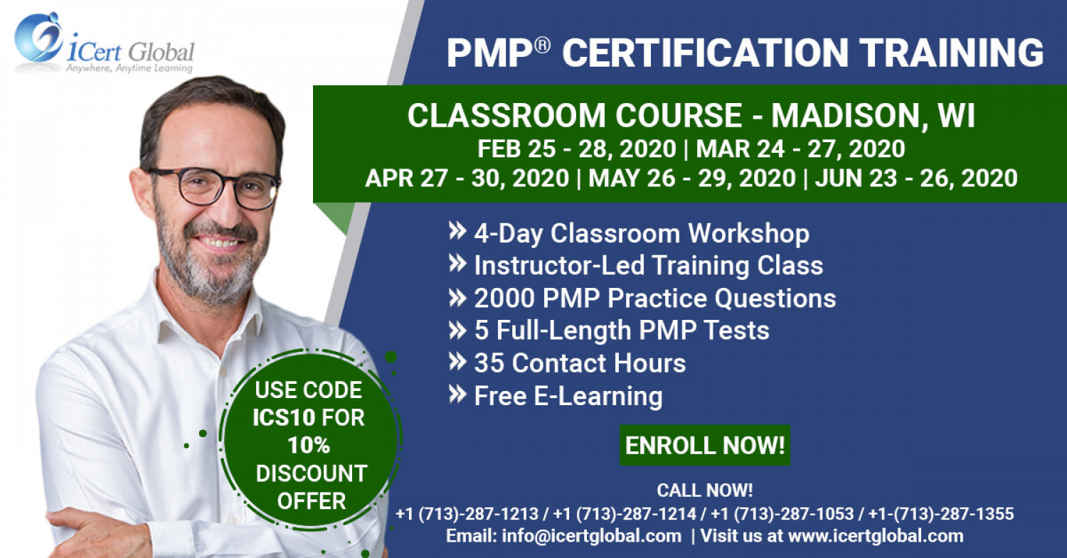 PMP Certification Training Course in Madison, WI | Classroom Training | iCert Global Infographic