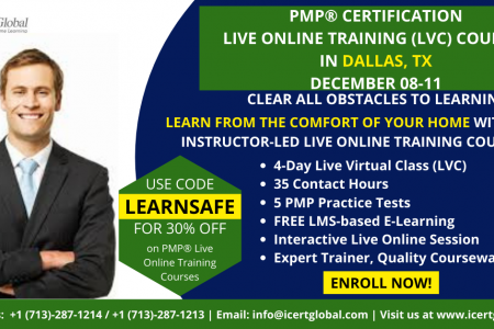 PMP Live Online Certification Training  (PMP Live Virtual Class) in Dallas, TX | iCert Global Infographic