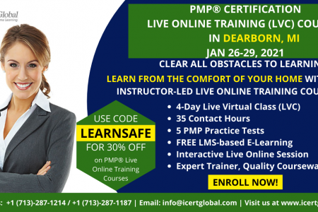 PMP Live Online Certification Training  (PMP Live Virtual Class) in Dearborn, MI   iCert Global Infographic