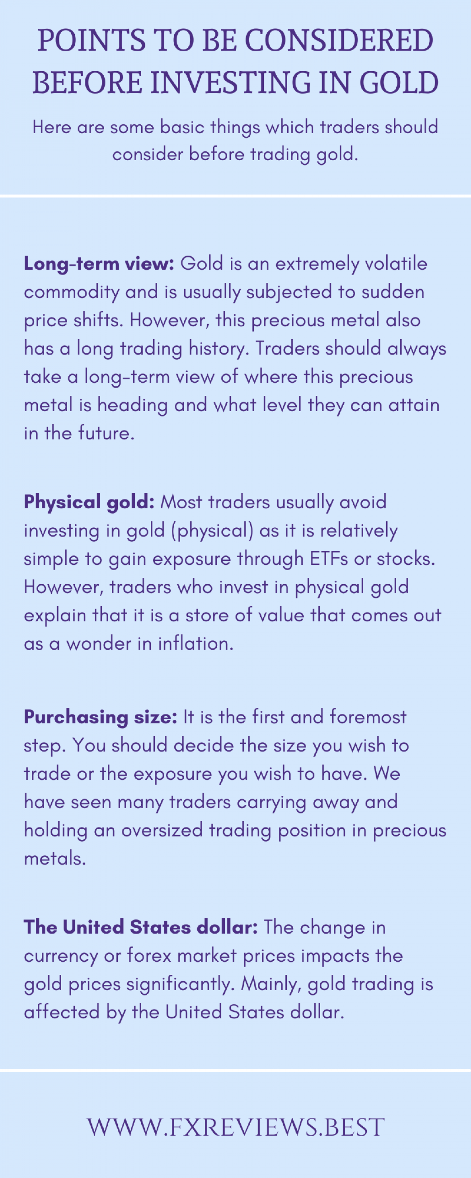 Points to be considered before investing in gold  Infographic