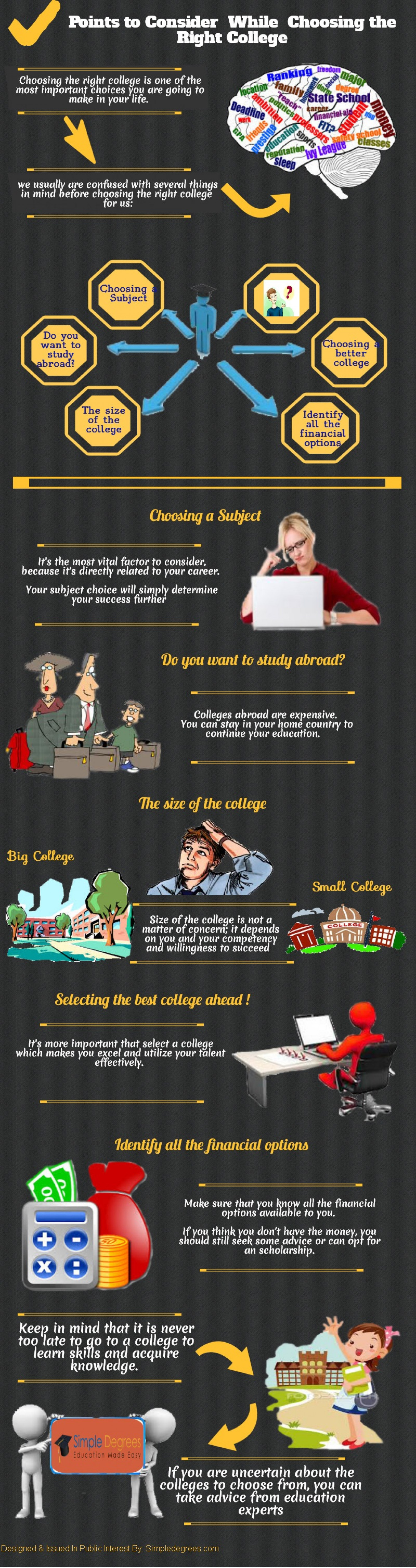 Points to Consider  While Choosing the Right College Infographic