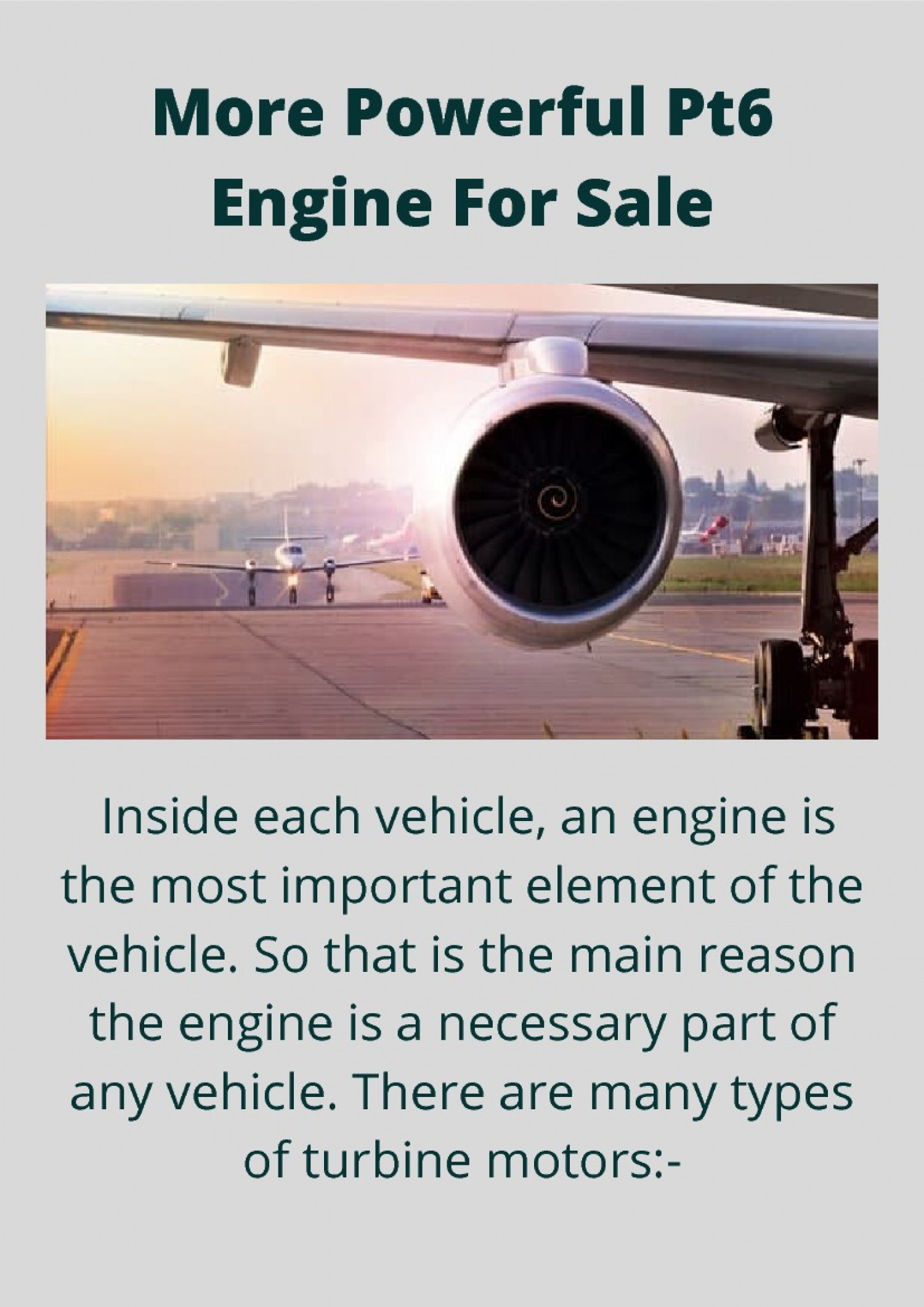 Powerful Pt6 Engine For Sale Infographic