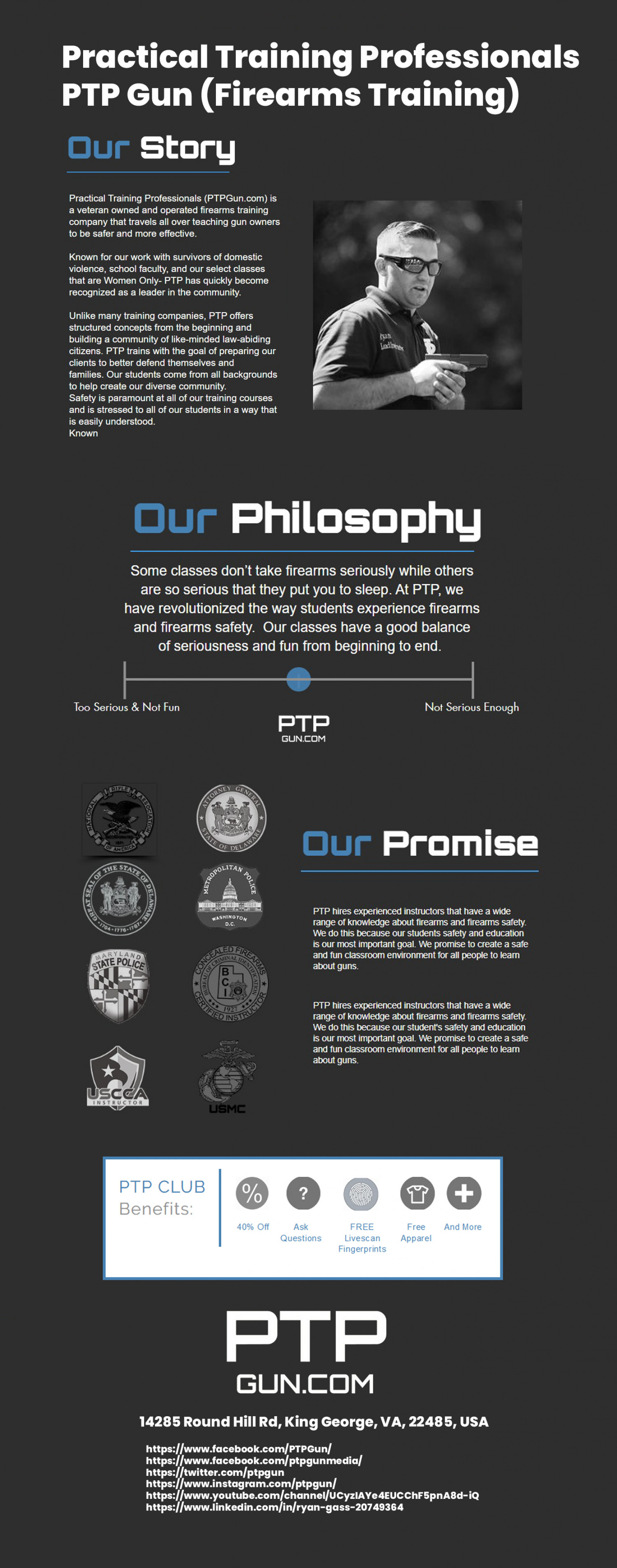 Practical Training Professionals - PTP Gun (Firearms Training) Infographic