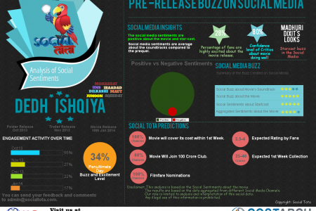 Pre-Release Social Sentiments for Dedh Ishqia Infographic