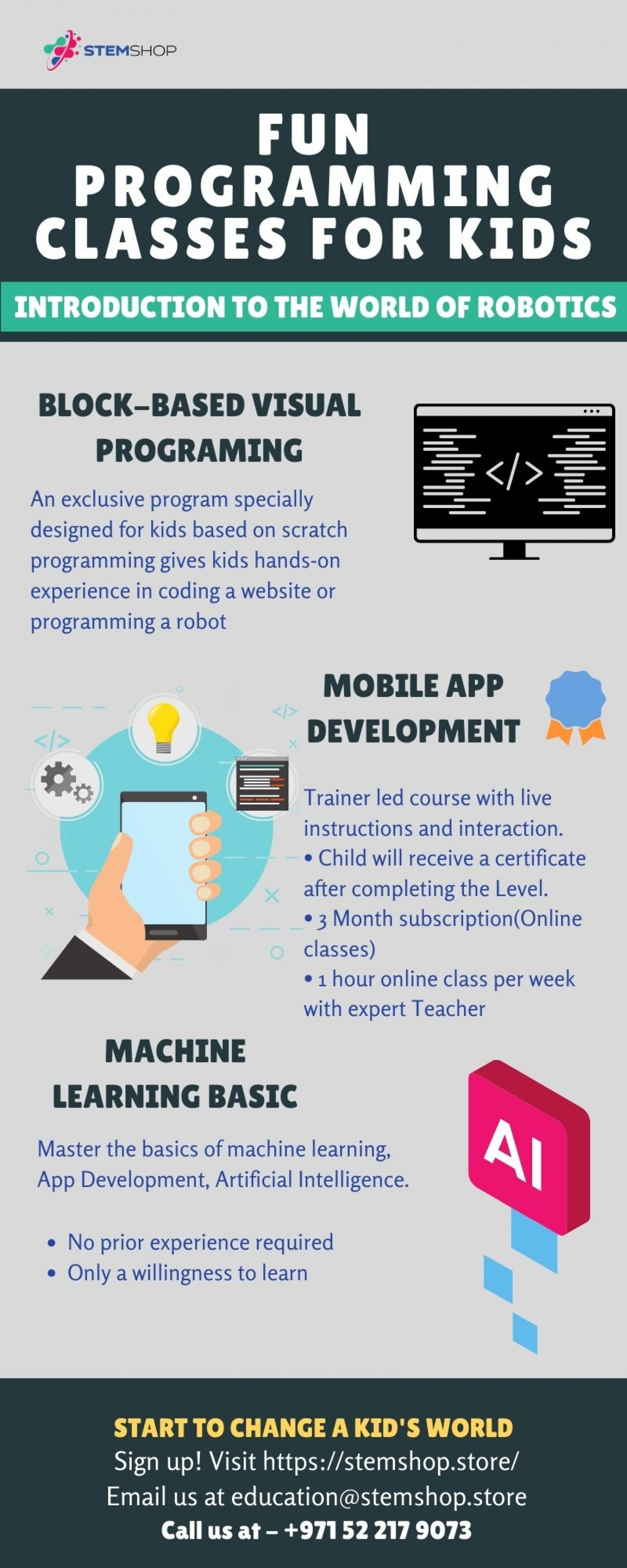 Programming classes for kids (7-14yr) | Stem Shop Store Infographic