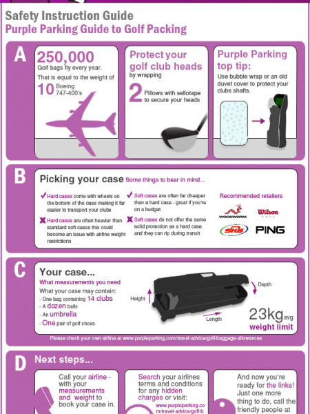 Purple Parking Guide to Golf Packing  Infographic