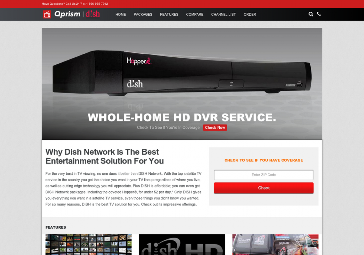QPRISM DISH NETWORK WEBSITE Infographic
