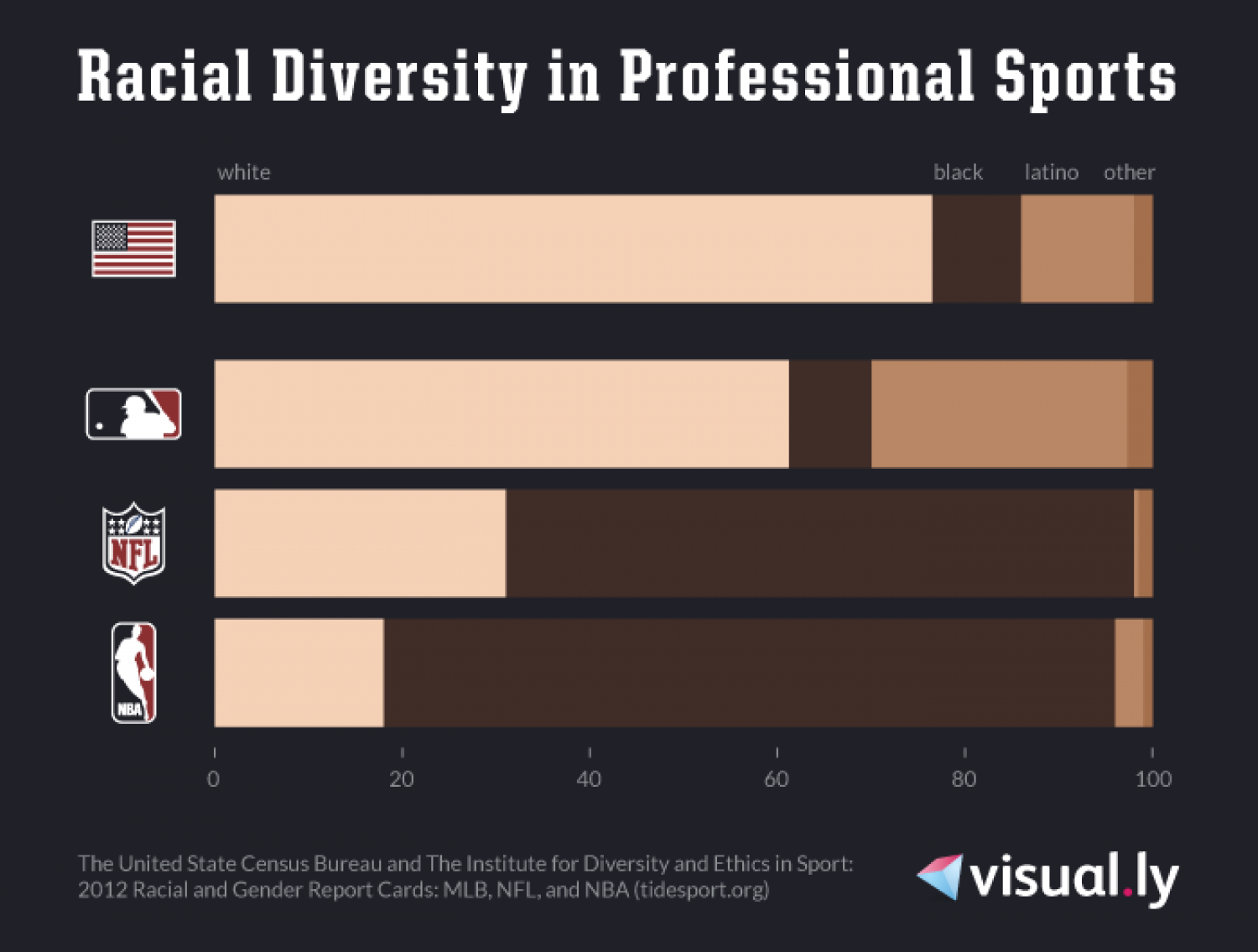 Racial Diversity in Professional Sports Infographic