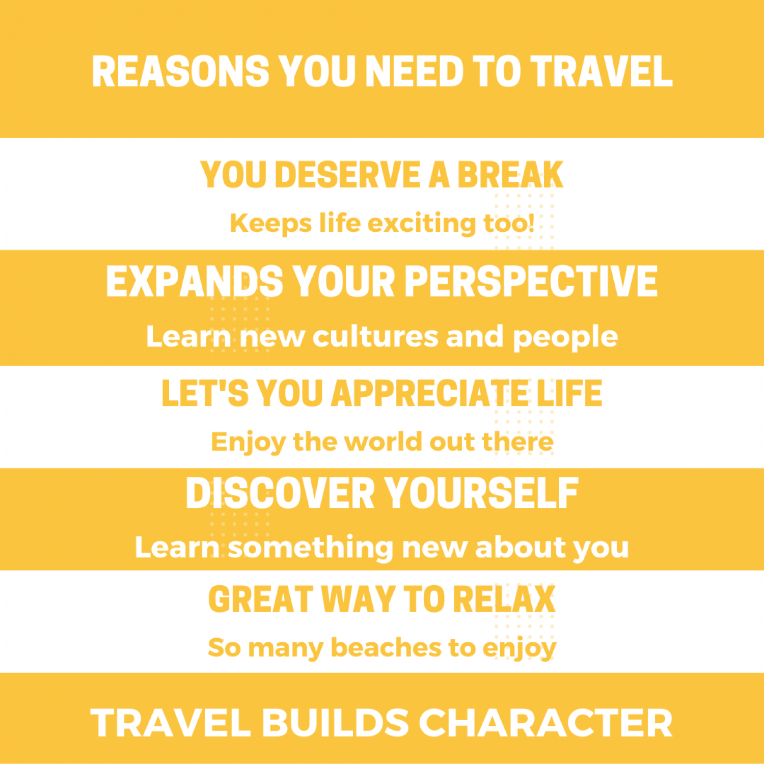 Reasons you need to travel Infographic